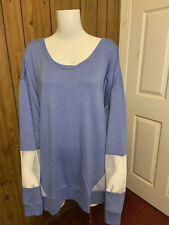 Adrienne Vittadini Sport Blue Long Sleeve Knit Mesh Top Plus Size 3X