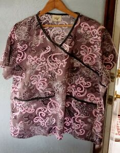 Ladies TAFFORD medical nursing Scrub Top Size MED brown & pink floral  preowned