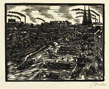Berlín-puerto con Nikolaikirche-Walter Preisser-madera corte 1923