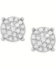 SPARKLING WHITE DIAMOND CLUSTER 925 STERLING SILVER STUD EARRINGS  Lady Men $160