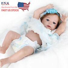 "US Ship NPK Waking High Vinyl Reborn Baby Doll 22"" Soft Silicone Girl Toy Gift B"