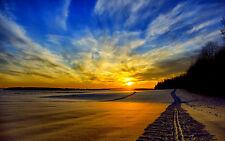 Incorniciato stampa-ATV binari attraverso la sabbia al tramonto (foto poster arte SCENIC)