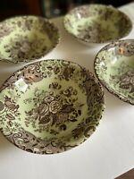 """Spode Blue Room Garden Collection Cereal Bowl Set of 4 8"""" Blue Rose Mint Brown"""