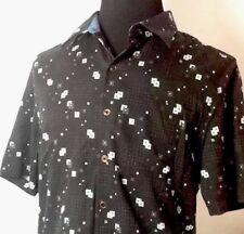 Classic M Geometric Luxury NAT NAST Silk Blend Short-Sleeve Button Down Shirt