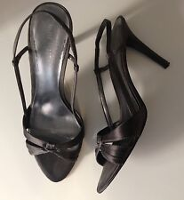 EUC Nine West Gunmetal Charcoal Grey Satin Slingback Strappy Sandal Size 8.5