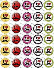 """30 Precut 1"""" I Love Moustache Bottle cap Images Set 2"""