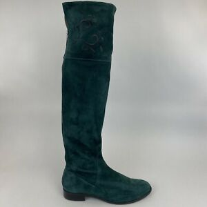 Duo Green Leather Suede Long Thigh High Zip Up Bootie Embroidered Boots 40 L UK7