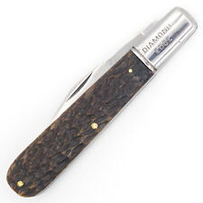 SHAPLEIGH HARDWARE D-E DIAMOND EDGE Pocket Knife LARGE GRANDDADDY BARLOW Bone