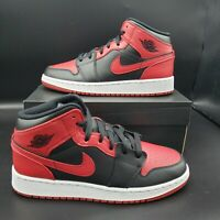 """Air Jordan 1 Mid GS """"Banned"""" Size 5Y Black/Red/White 554725 074"""