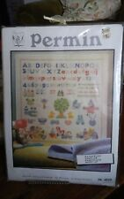 "Vtg rare Permin 39-140 cross stitch sampler baby nursery alphabet 15x15""  NEW"