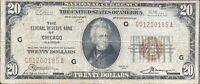 USA 20 Dollar 1929 National Currency $20 Chicago Selten Banknote #24330