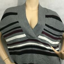 Loft Outlet Cape Poncho Sweater Sz M Gray Striped V Neck Black Sleeveless