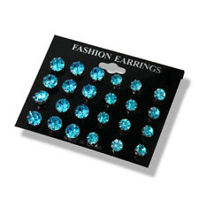 12Pairs/Sets Women Crystal Rhinestone Stainless Steel Earrings Ear Stud Jewelry