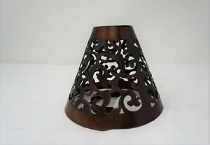Victorian Shade Brown Copper metal candle shade ~ Scroll design  NEW