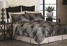 New Perle Iona Black Super King Size Quilt / Doona Cover Set Circles Geometric
