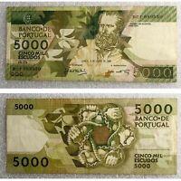 Portugal 5000 Escudos 1989 Pick P-184b3 Rare Banknote TOP!