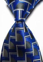 New Classic Patterns Blue Black White JACQUARD WOVEN 100% Silk Men's Tie Necktie