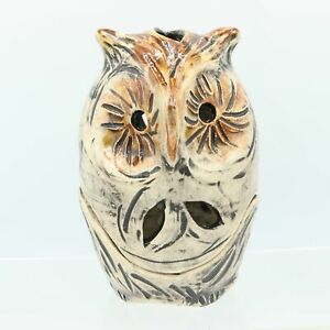 "6"" Brown Signed Studio Pottery Handmade Sculpture Owl Votive Candle Lantern 2-Pi"