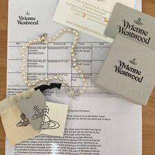 Genuine Vivienne Westwood Mini Bas Relief Choker. Silver/White Pearl.