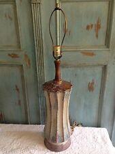 Vtg Mid Century Ceramic Glaze Pottery Teak Table Lamp Martz Marshall Era Retro