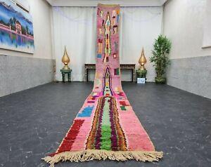 "Moroccan Boujaad Handmade Runner 2'3""x19'2"" Berber Abstract  Pink Orange Carpet"