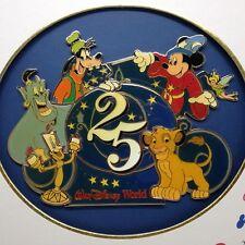 Walt Disney World 25th Anniversary Logo Framed Pin Set  Goofy Genie Simba Tinker