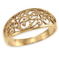 9ct Gold FILIGREE Dome Ring  (Handmade UK)