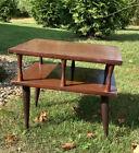 Vintage Mid Century Danish Modern 2 Tier Wood Atomic End Table Side Nightstand 1