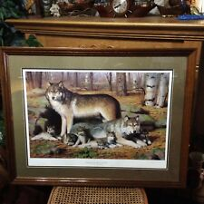 Darrell Wirkkula Spring Morning Wolf Family numbered print signed by artist