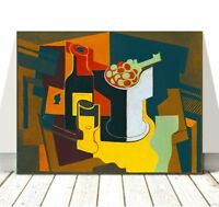 """JUAN GRIS Art - Bottle & Fruit Bowl CANVAS PRINT 12x8"""" - Cubist, Cubism"""