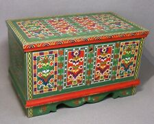 Intricately Painted Colorful Small Wood Country Storage Chest
