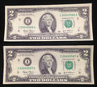 Gift Pair of $2 Two Dollar Bills, Seq. Serial Numbers, Uncirculated US Currency