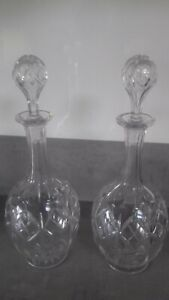 Pair of vintage wine decanters blown stoppers
