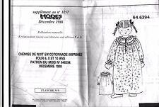 ▬► PATRON Couture Modes et Travaux Chemise Cotonnade 6 8 10 ans Décembre 1988