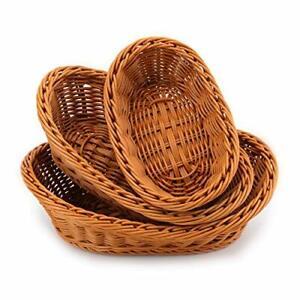 "Wicker Bread Basket Roll Servin Oval Mini Storage Display Fruit Snack Small 7"""