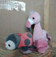 1998 2 Precious Moments Tender Tails bean bag plush Ladybug & pink flamingo