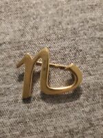 Gold Tone Lowercase N Pin Brooch Fashion Jewelry