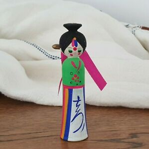 Vintage 1960s Wood Psychedelic Korean Kokeshi Doll