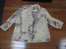 Chicos Women's Zenergy Yellow Gold White Gray Jacket Size 2 (12) EUC