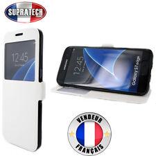 Etui Rabattable Blanc Avec Ouverture Ecran pour Samsung Galaxy S7 Edge G935