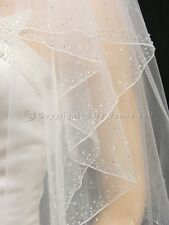 "2T White Cathedral Length 2.5"" Wide Crystal Beaded Edge Bridal Wedding Veil"