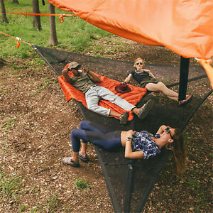 Multi Person Hammock Triangle Aerial Mat Outdoor Camping Air Sky Tent Swing Bed