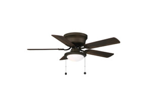 Hugger 44 in. LED Indoor Oil Rubbed Bronze Ceiling Fan with Light Kit