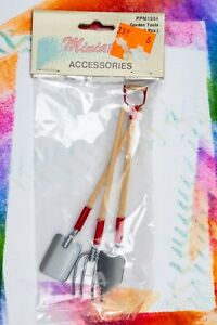 Dollhouse Miniature Kitchen Diorama Vintage Garden Tools Shovel Spade Fork
