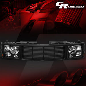 BLACK HEADLIGHT+FENCE ROVER GRILLE FOR 1994-2000 CHEVY GMC C/K 1500-3500 TAHOE