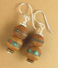 Tibetan mala bead earrings. Wooden. Sterling silver 925. Handmade.