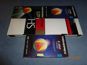 5 x blank video cassette tapes VHS E 180 3 hour 6 LP used ready to tape + sleeve