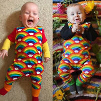 Newborn Baby Boys Girls Scales Romper Bodysuit Jumpsuit Rainbow Outfits Clothes