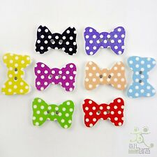 10pcs Mixed Bow Knot Dots Wood Buttons lot 29.5x20MM Craft/Kids Sewing DIY Cards