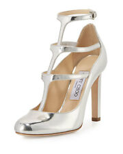 JIMMY CHOO DOLL Silver Mirror Leather Caged pumps 38